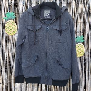 Billabong gray full zip hooded sweater jacket